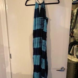 Aqua blue tie dye maxi dress